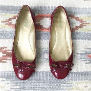 Nicole Red Leather Patent Bow Ballet Shoes 7.5